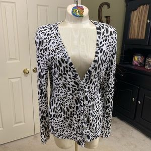 Chico's Animal Print Cardigan Size 1/M